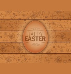 easter brown egg on wooden background vector image