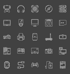 Electronic gadgets outline icons vector