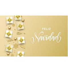 Feliz navidad merry christmas golden greeting vector