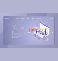 financial data analysis landing page template vector image