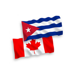 Flags canada and cuba on a white background vector