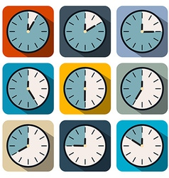 Flat Design Clock Set vector image vector image