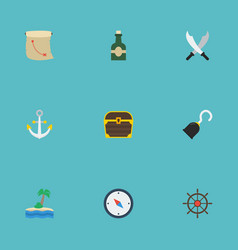 flat icons bottle treasure map pirate and other vector image