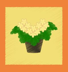 Flat shading style plant pelargonium vector