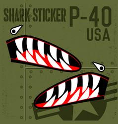 Flying tigers warhawk usa shark mouth sticker vector