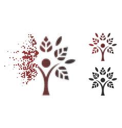 fragmented dot halftone eco man icon vector image