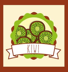 fresh kiwi natural fruit organic emblem design vector image