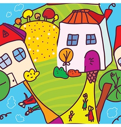 Funny town and people seamless pattern vector image
