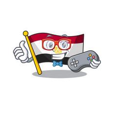 Gamer flag egypt folded in mascot cupboard vector