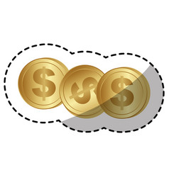 gold coins dolar currency vector image