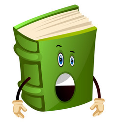 Green book is surprised on white background vector
