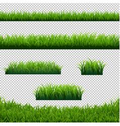 Green grass borders big set transparent background vector