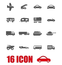 grey vehicles icon set vector image