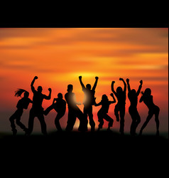 Group happy active people silhouettes and sunset vector