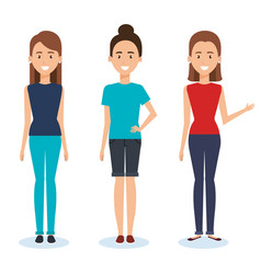 group of women characters vector image
