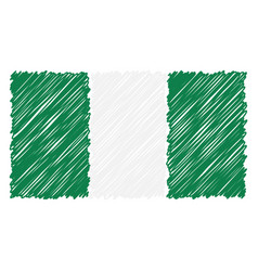Hand drawn national flag of nigeria isolated on a vector