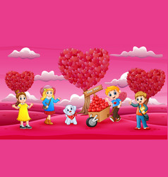Happy kids celebrating a valentine day on the pink vector