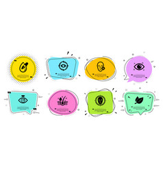 Health eye eye laser and mint leaves icons set vector