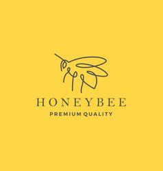honey bee logo line outline monoline icon vector image