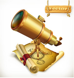 Horoscope and telescope astrology 3d icon vector