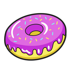 icing donut bright icon delicious cake with vector image