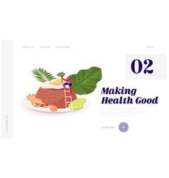 Indonesian cuisine website landing page woman vector