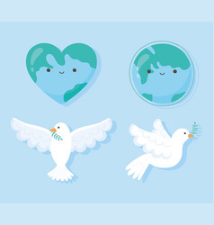 international peace day dove with leaf lgobe shape vector image