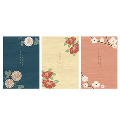 japanese background with flower elements wooden vector image