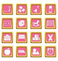 kindergarten symbol icons pink vector image