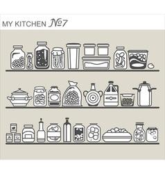 Kitchen utensils on shelves 7 vector