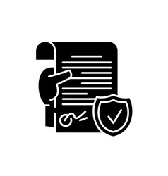 legal document black icon sign on isolated vector image