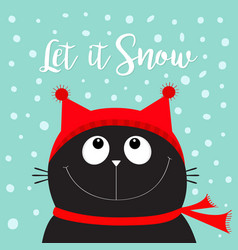 Let it snow black cat kitten head face looking up vector