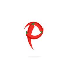 Logo red chili pepper letter p vector