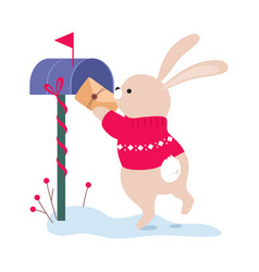 Lovely bunny putting letter in mailbox xmas vector