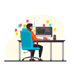 Male programmer working at computer in office vector