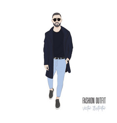 man with beard street style business people vector image