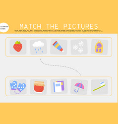 matching pictures worksheet game for children vector image