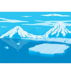Mountain covered with snow and sea vector
