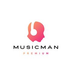 music man human head with headphone logo icon vector image