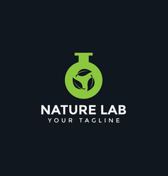 nature green leaf and lab logo design template vector image