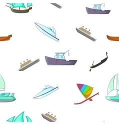Ocean transport pattern cartoon style vector