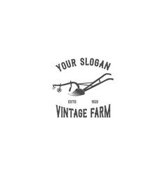 oldplough emblem silhouette logo vector image