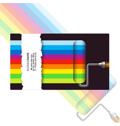 paint roller and color paint business card vector image
