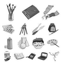 Painter and drawing monochrome icons in set vector