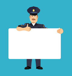 policeman holding banner blank police officer and vector image