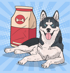 Pop art husky dog with big food pack vector