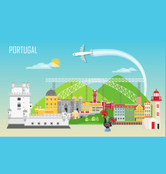 portugal background with national landmark icons vector image