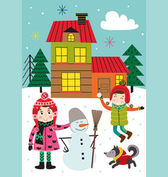 poster with with kids in winter time outdoors vector image