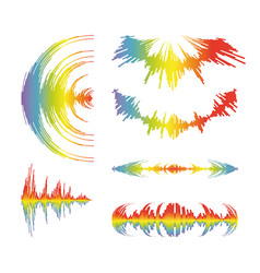 rainbow music wave logo collection on white vector image