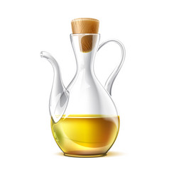 realistic glass virgin oil jug with cork vector image